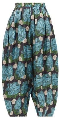 Biyan Floral-print Silk-twill Trousers - Blue Multi