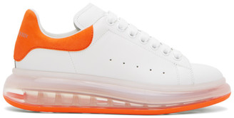 Alexander McQueen White and Orange Clear Sole Oversized Sneakers