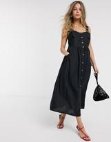 Asos Design DESIGN dungaree button through midi sundress in black