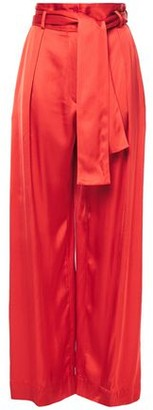 Nina Ricci Belted Pleated Satin Wide-leg Pants