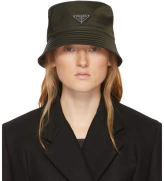 Prada Khaki Nylon Bucket Hat
