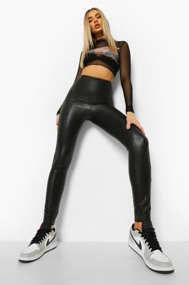 boohoo Seam Front Leather Look Pu Leggings