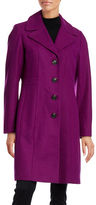 Anne Klein Notched Wool-Blend Walker Coat