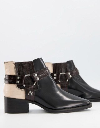 ASRA Mariana boots with harness detail in black leather