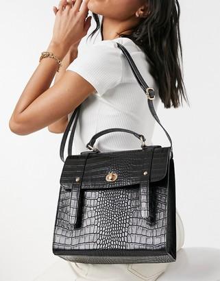 ASOS DESIGN twist lock satchel in black croc
