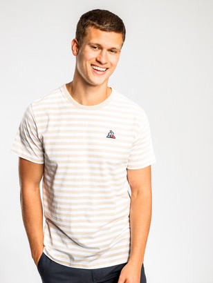 Le Coq Sportif Essentiel Short Sleeve T-Shirt in Sand White Stripe