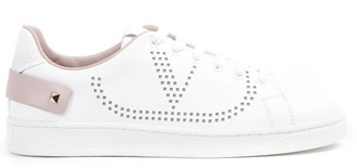 Valentino White And Pink Leather Vlogo Sneakers