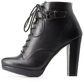 Charlotte Russe Buckled Lace-Up Combat Booties
