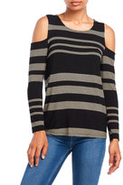 Cable & Gauge Variegated Stripe Cold Shoulder Top
