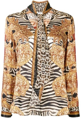 Camilla Abstract-Print Silk Blouse
