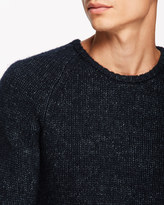 Two-tone Wool Cotton Crew Neck