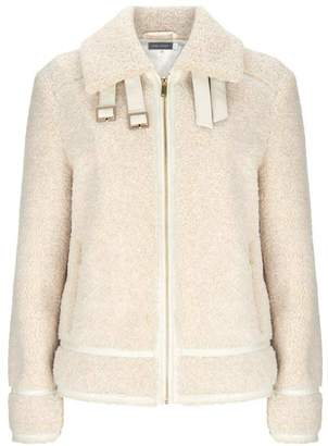 Mint Velvet Cream Teddy Aviator Jacket