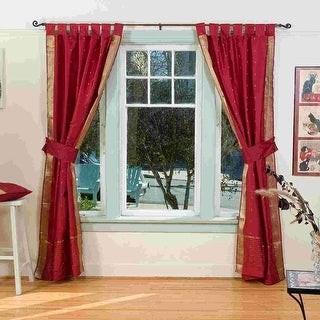 Indian Selections Indo Maroon Tab Top Sari Sheer Curtain