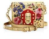 Dolce & Gabbana Miss Luccia Mini Rose-Print Metallic Leather Shoulder Bag