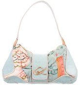 Christian Lacroix Leather-Trimmed Embellished Canvas Bag