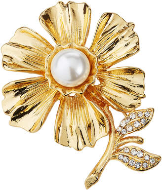 Kenneth Jay Lane Pearly Flower Crystal Pin