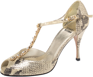 Stuart Weitzman Two Tone Python Embossed Leather Crystal Embellished T Strap Sandals Size 36.5