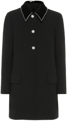 Miu Miu Embellished wool-crepe coat