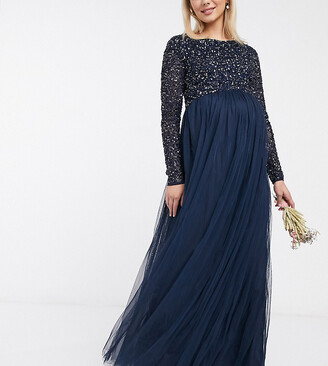 Maya Maternity Bridesmaid long sleeve maxi tulle dress with tonal delicate sequins in navy