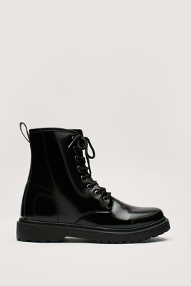 Nasty Gal Womens Lace the Music Faux Leather Biker Boots - Black - 5, Black