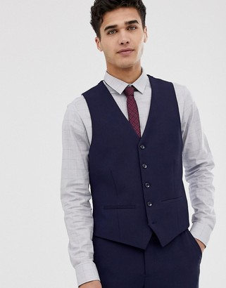 Moss Bros muscle fit suit vest in navy