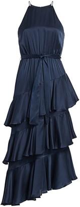 Zimmermann Eye Spy Tiered Ruffled Halter A-Line Dress
