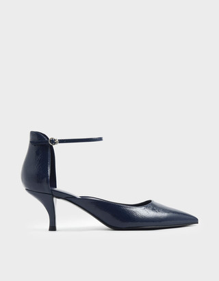 Charles & KeithCharles & Keith Wrinkled Patent Sculptural Kitten Heel Court Shoes