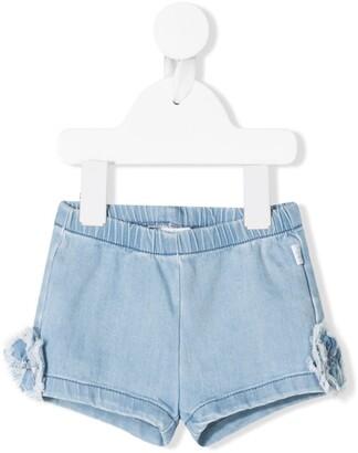 Il Gufo Floral-Applique Denim Shorts