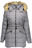 Steve Madden Gray Heather Faux Fur Hooded Puffer Coat