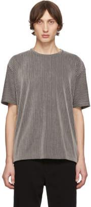 Issey Miyake Grey and Black Tucked Stripe T-Shirt