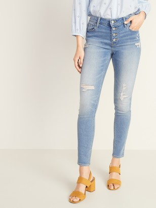 Old Navy Mid-Rise Button-Fly Distressed Rockstar Super Skinny Jeans for Women