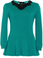 Oscar de la Renta Jewel Neck Jet Bead Embroidered Peplum Pullover