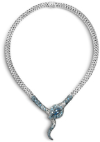 John Hardy Women's Legends Cobra Necklace in Sterling Silver with London Blue Topaz and Flush White Diamond (0.07ct)