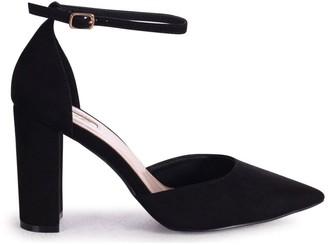 Linzi MARLIE - Black Suede Court Shoe With Ankle Strap & Block Heel