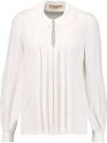 Michael Kors Pleated silk-georgette blouse
