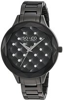 SO&CO New York Women's 'Madison' Quartz Metal and Stainless Steel Dress Watch, Color:Black (Model: 5255.2)