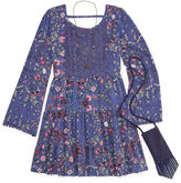 Knitworks Knit Works Blue Floral Long Sleeve Peasant Dress w/ Purse- Girls' 7-16