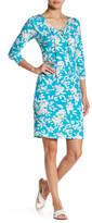 Loveappella V-Neck Front Tie Print Dress