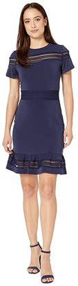 MICHAEL Michael Kors Mesh Mix Short Sleeve Dress (True Navy) Women's Clothing