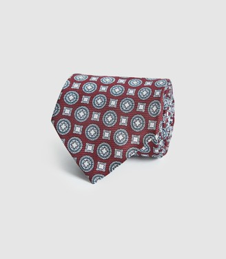 Reiss Lennie - Silk Medallion Tie in Bordeaux