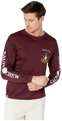 Salty Crew Tailed Long Sleeve Tech Tee (Burgundy) Men's T Shirt