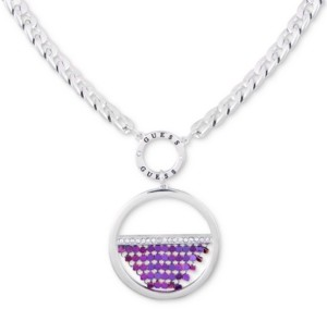 """GUESS Silver-Tone Mesh Pendant Necklace, 18"""" + 2"""" extender"""