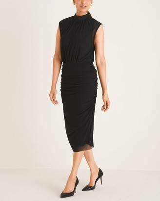 Chico's Ruched Mesh Midi Dress