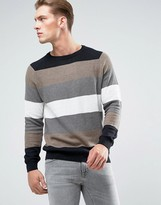 Pull&Bear Striped Sweater In Camel And Gray