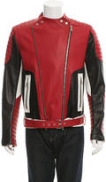 Balmain Tri-Color Leather Biker Jacket