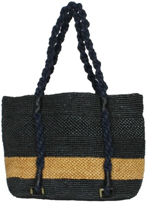 Maraina London Mimosa Black & Brown Striped Beach Raffia Tote Bag