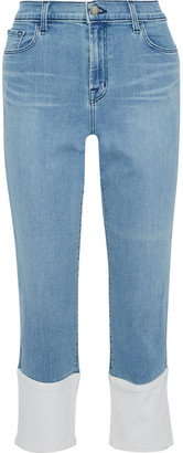 J Brand Ruby Cropped Two-tone High-rise Straight-leg Jeans