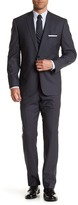 Vince Camuto Grey Sharkskin Two Button Notch Lapel Wool Suit