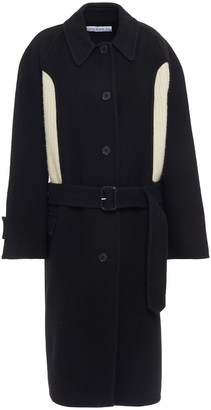 J.W.Anderson Ribbed Knit-paneled Wool And Cashmere-blend Felt Coat