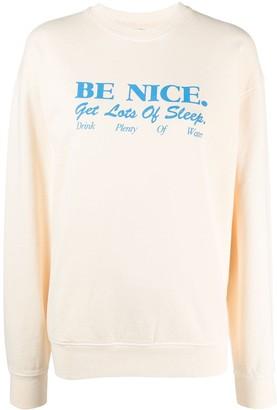 Sporty & Rich Be Nice slogan print sweatshirt